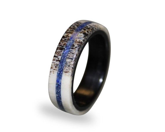 Deer Antler Fashion Ring Antler Ring with Lapis Lazuli Inlay Lapis