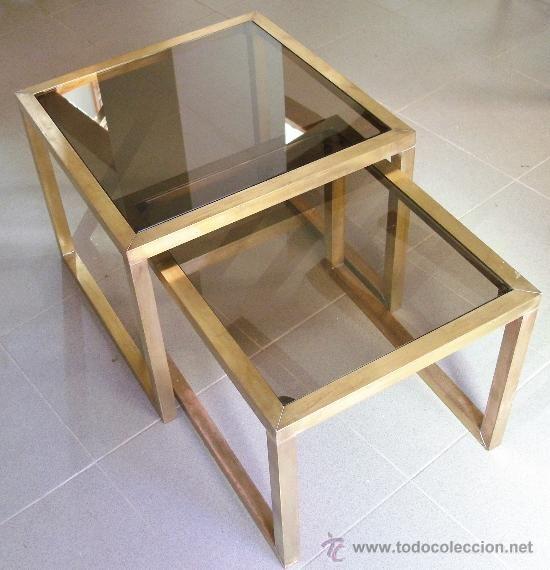 2 mesas auxiliares de laton y cristal oscurecido la - Mesitas auxiliares de cristal ...
