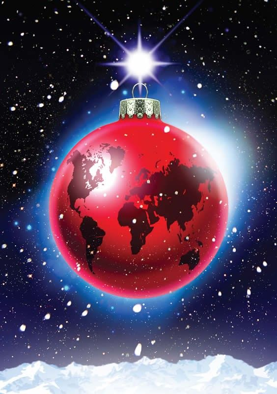 Global Bauble - International Available as a charity Christmas - christmas card layout