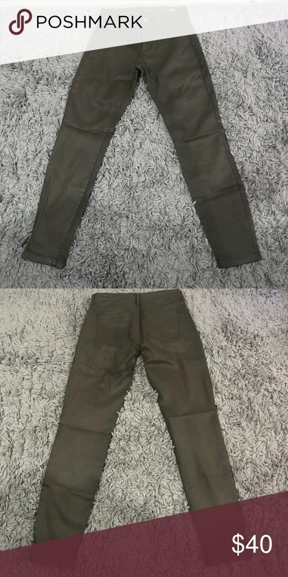 c080611ab408 Dark olive waxed coated skinny jeans Dark olive green wax coated skinny  pants. Low rise