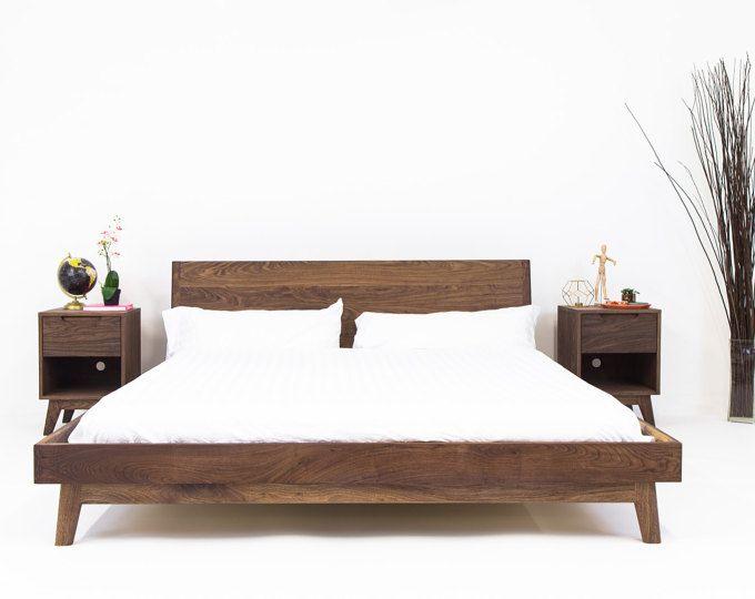 Modern Bed, Bed, Walnut Bed, Midcentury Modern Bed, Bed Frame, King ...