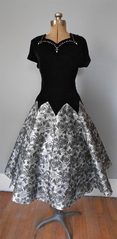 S prom dress with velvet bodice rhinestones and flocked lace full