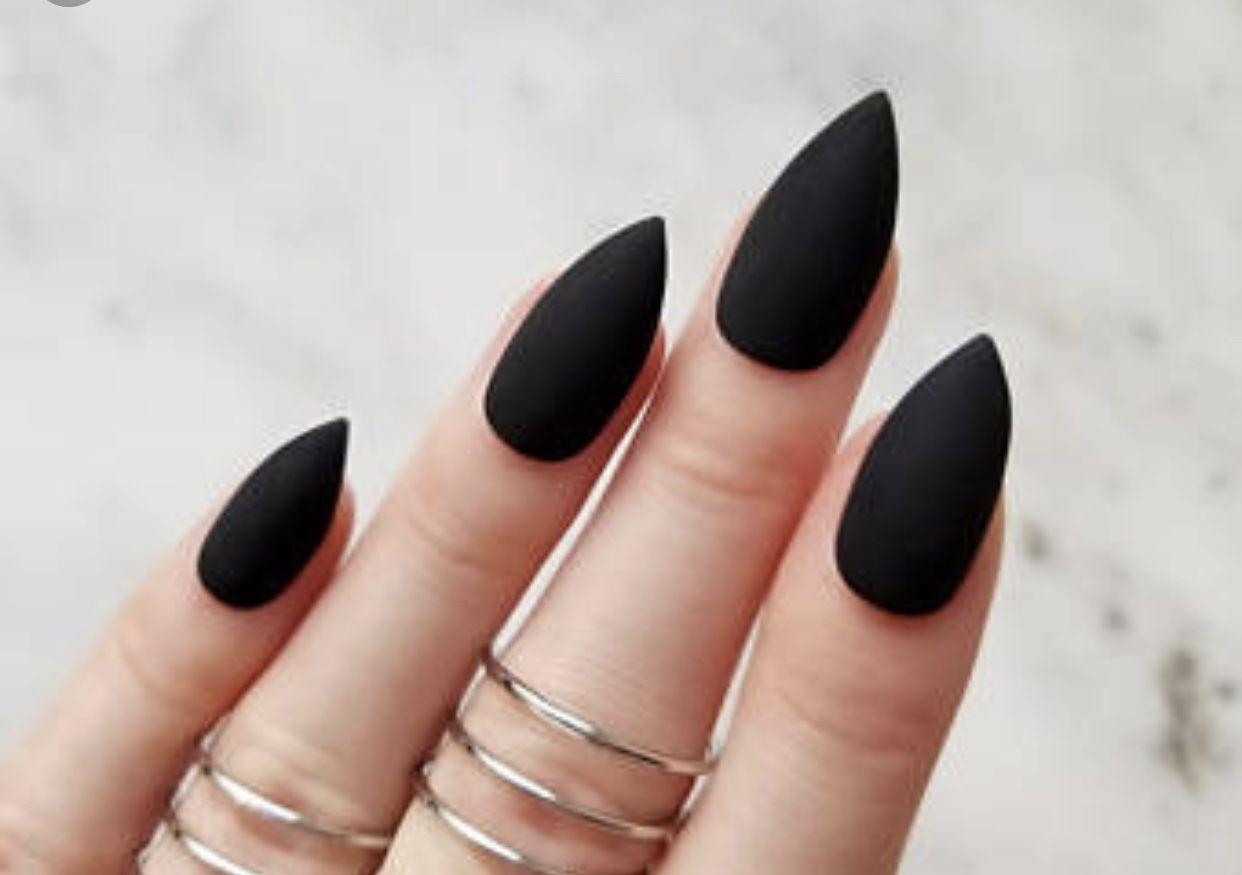 Black Almond Shaped Nails Black Stiletto Nails Black Acrylic Nails Matte Black Nails