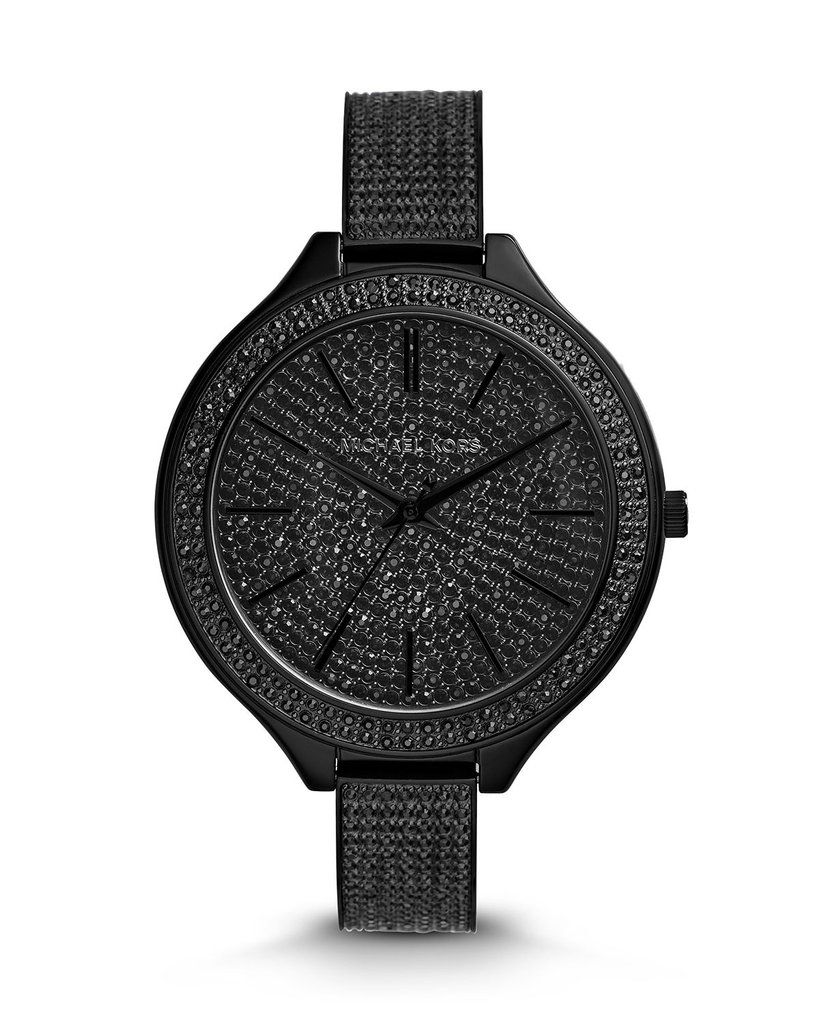 a6a10e3d15c5  MichaelKors Black Stainless Steel Slim Runway Three-Hand Crystal Glitz   Watch Covered in Glass Pave Crystals. Black Dial with Tonal Accents.
