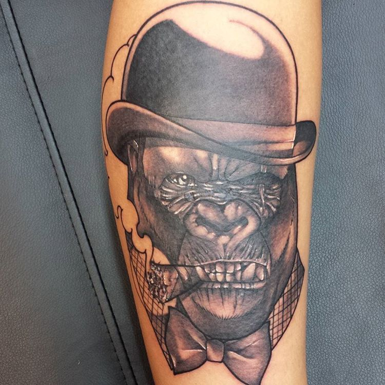 gorilla tattoo tattooartist tatts gorillatattoo silverback smoke ape smoking tattoo. Black Bedroom Furniture Sets. Home Design Ideas