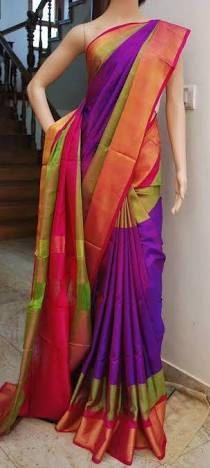 d8e40e3b8283b2 Uppada Purple with Green Color Silk Saree with Gold color border by  UppadaPattu on Etsy