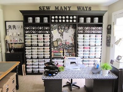sewing craft room ideas…. This shows this lady\'s entire craft room ...