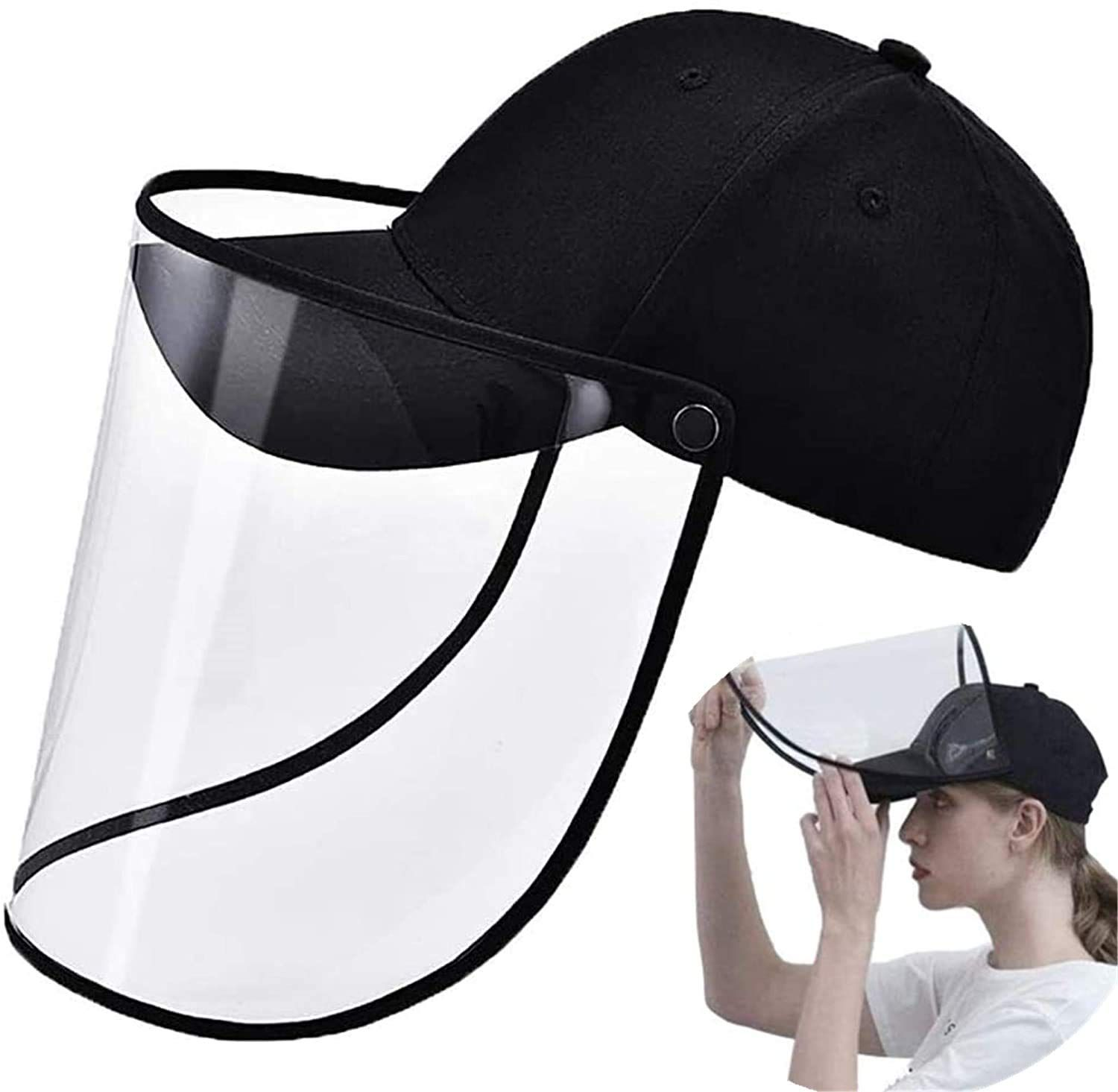 Protective Cap Baseball Hat Cap With Removable Rotatable Transparent Face Shield Cover Men Women Windproof Face Shield Hat Popular Face Masks Face Shield Mask