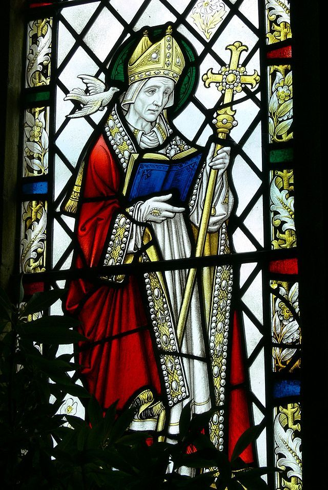1 March, David of Wales. c. 544.  Saint Non's Chapel - Fenster 5 St.David.jpg