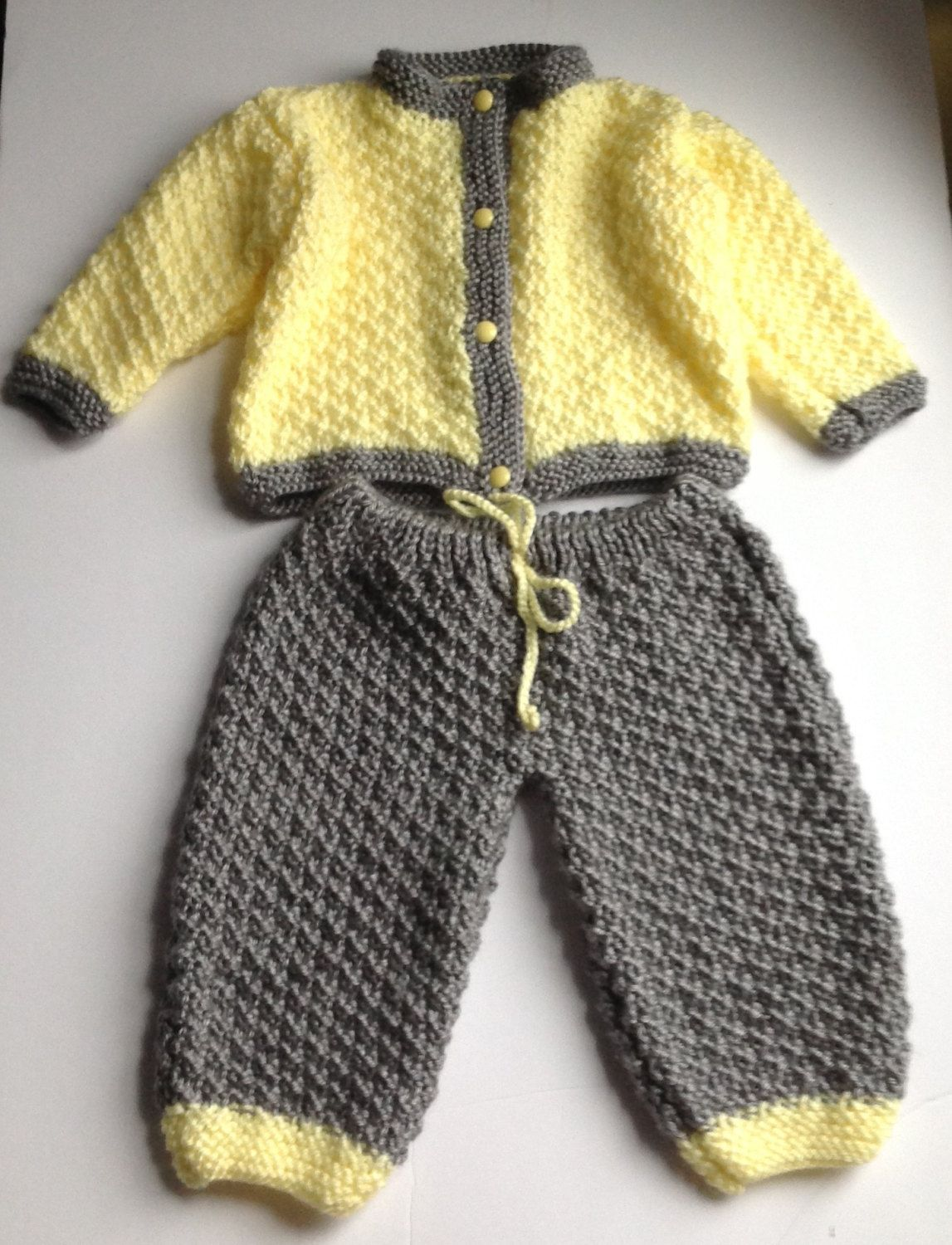 Knitted baby set, knitted cardigan and pants set, yellow and gray ...