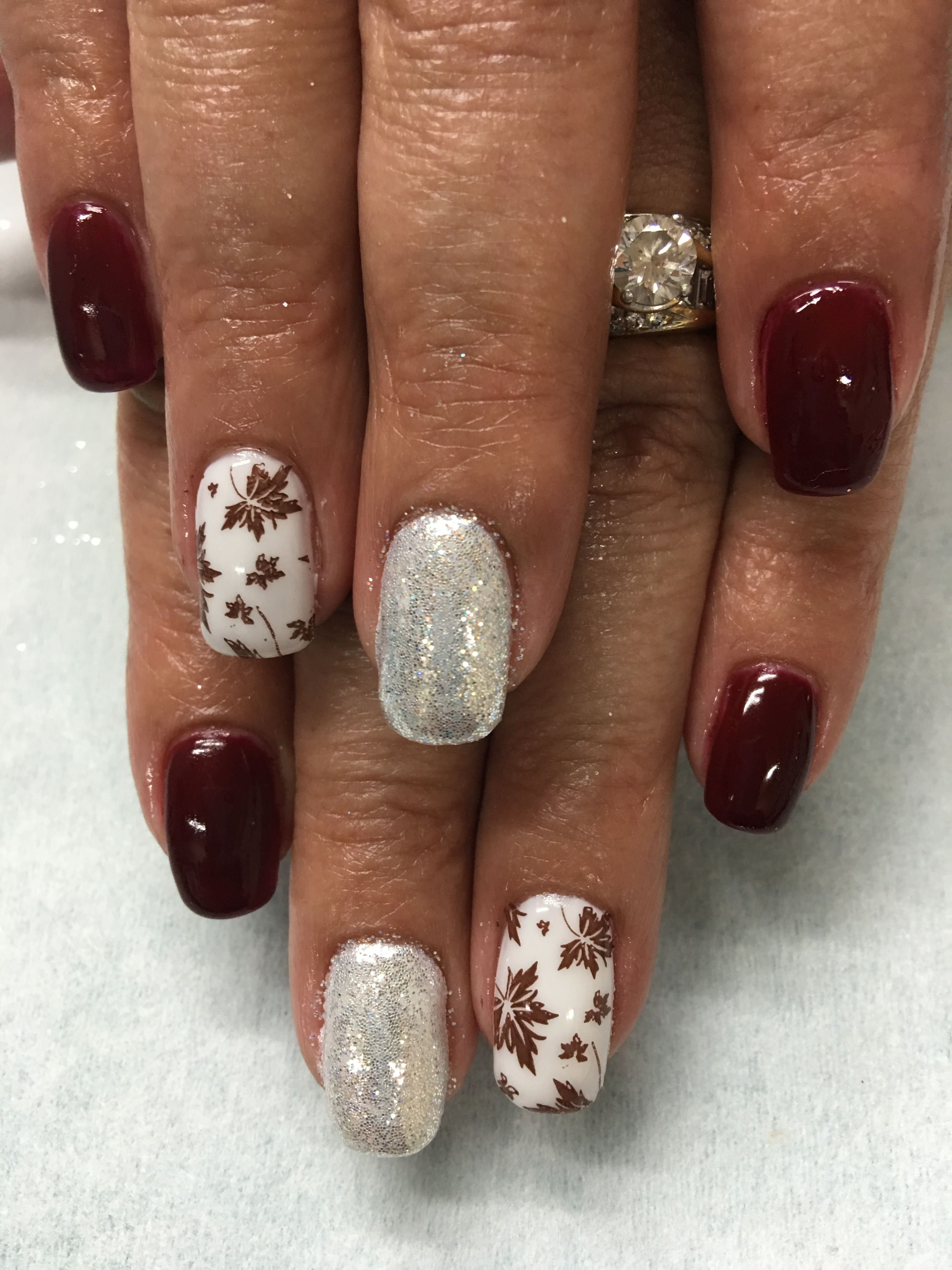 Burgundy Wine Sparkle White Leaf Stamped Fall Gel Nails