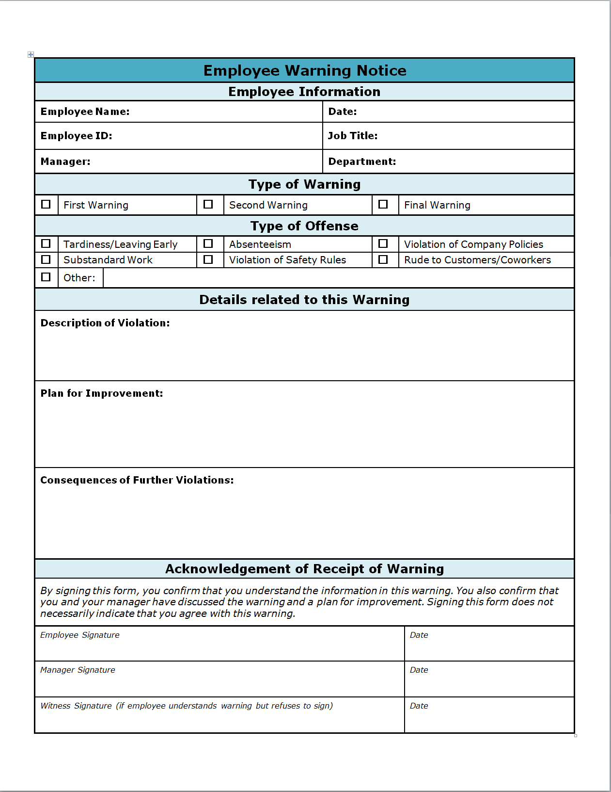 Employee Warning Write Up  Invitation Templates  Worksheets