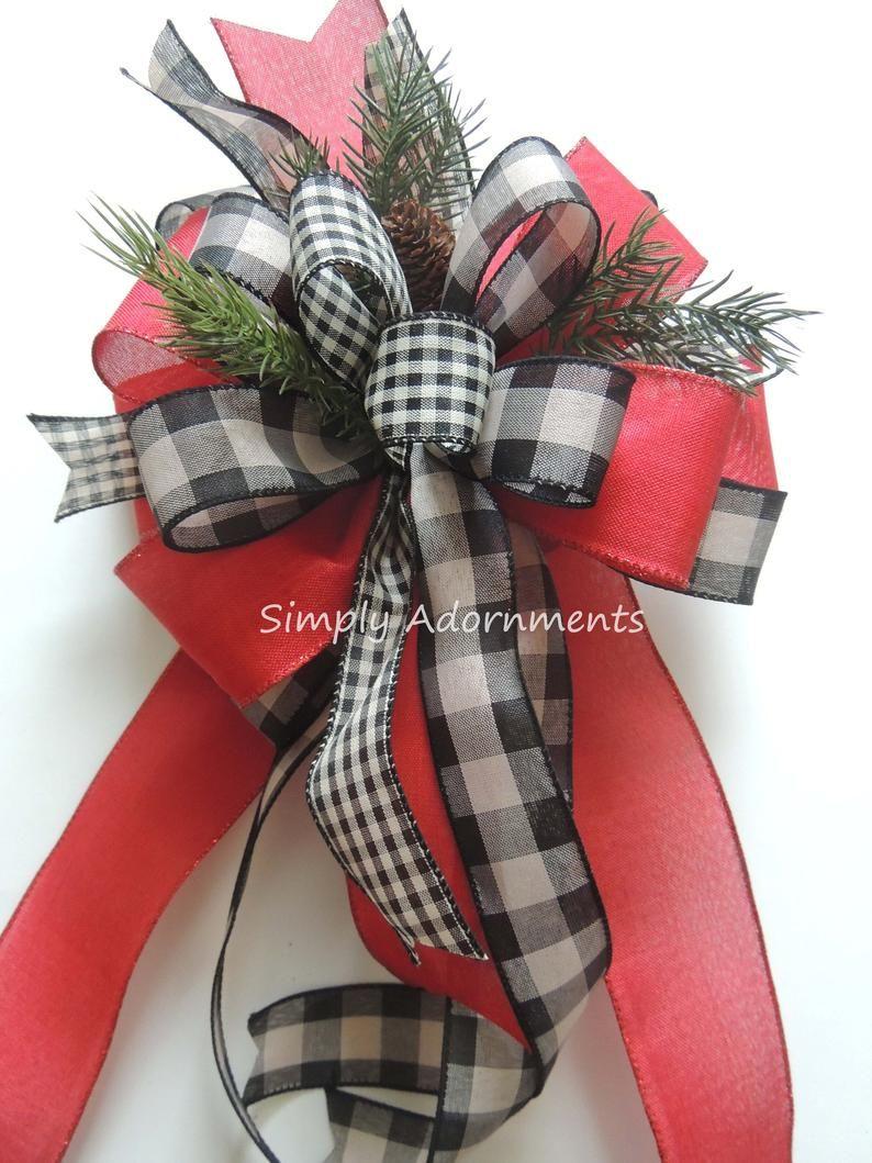 Farmhouse Christmas Wreath Bows Christmas Farmhouse tree