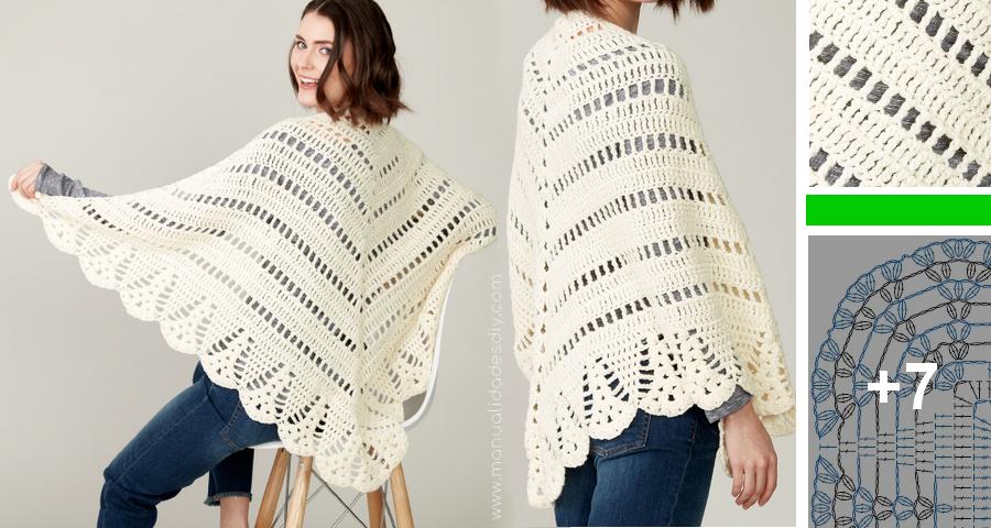 Precioso chal tejido a crochet muy fácil | ponchos | Pinterest ...