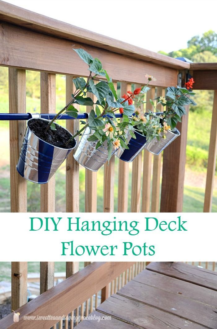 Diy Hanging Deck Flower Pots Deck Flower Pots Diy Flower Boxes Hanging Flower Pots
