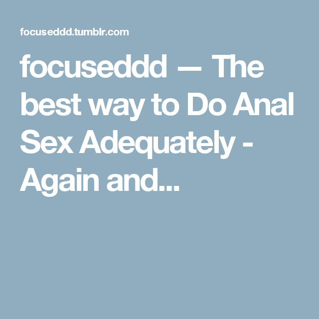 Best way to do sex