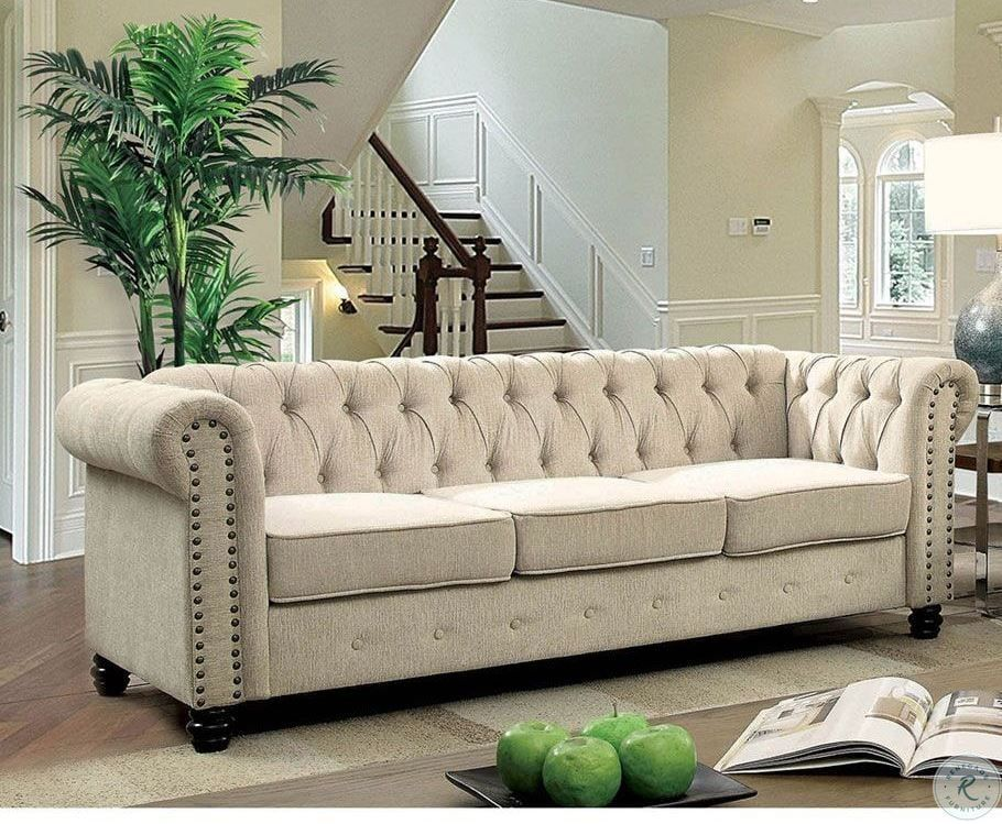 Winifred Ivory Sofa In 2020 Furniture Furniture Of America Fabric Sofa