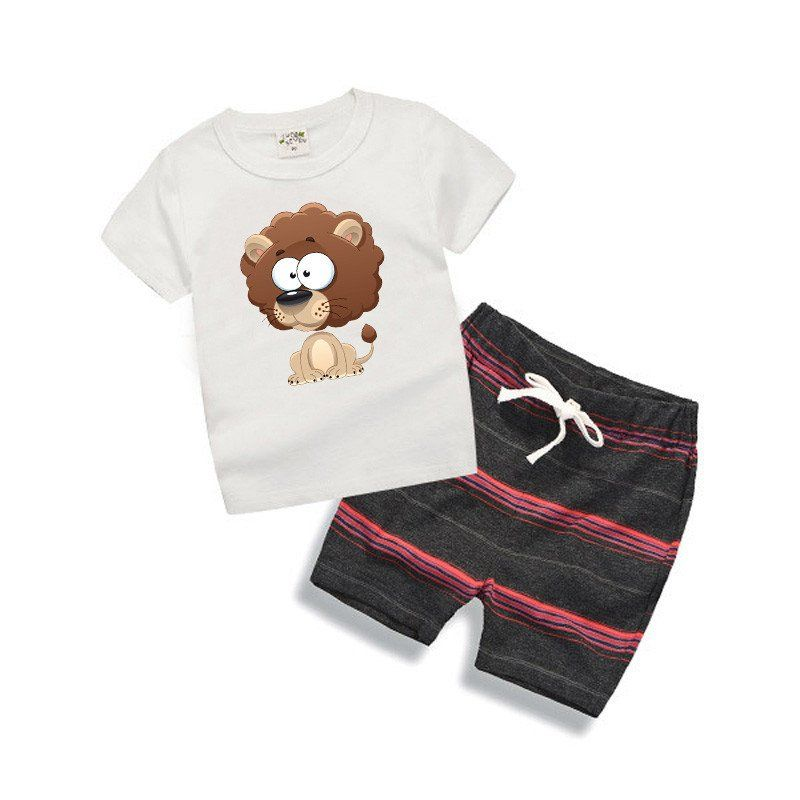 96166fd29 The simple and casual design of this Lion Print Clothing Set is perfect for  your kid's summer activities. Sizes available for 6 months to 6T.