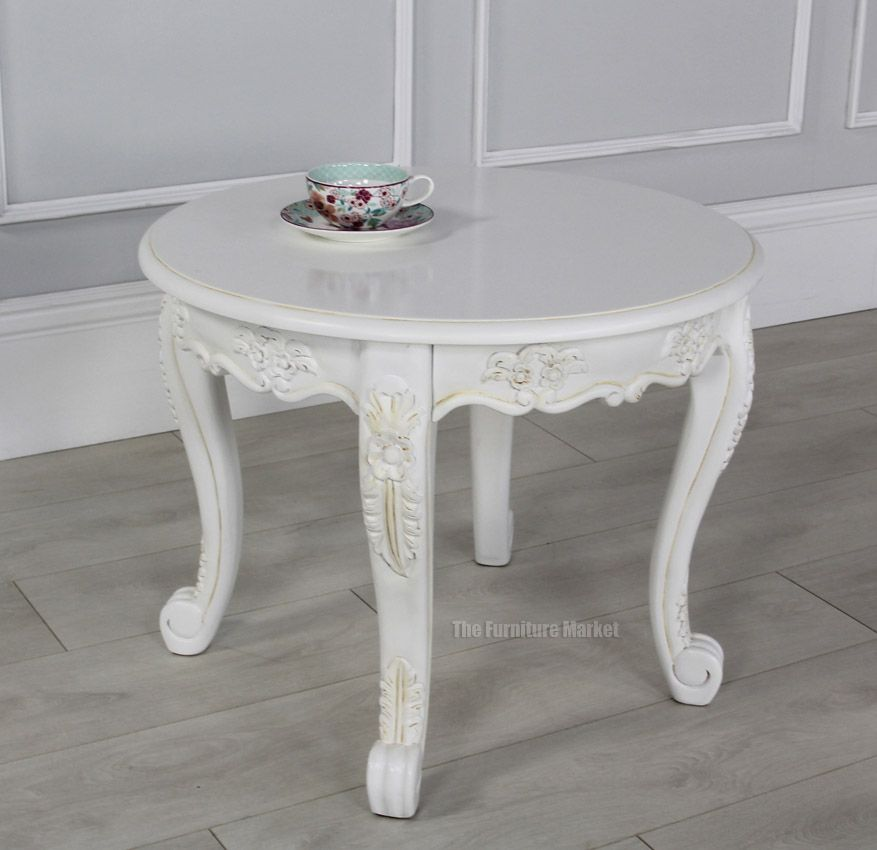 French Chateau White Painted Small Round Coffee Table