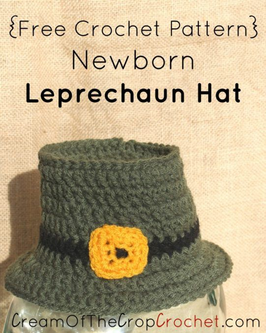 0c663a4231b Cream Of The Crop Crochet ~ Newborn Leprechaun Hat  Free Crochet Pattern