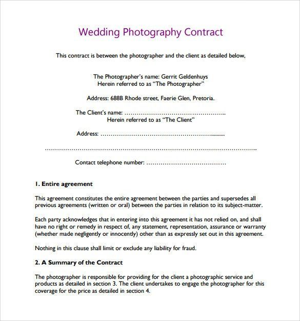 Free Wedding Photography Contract Template Lovely Wedding ...