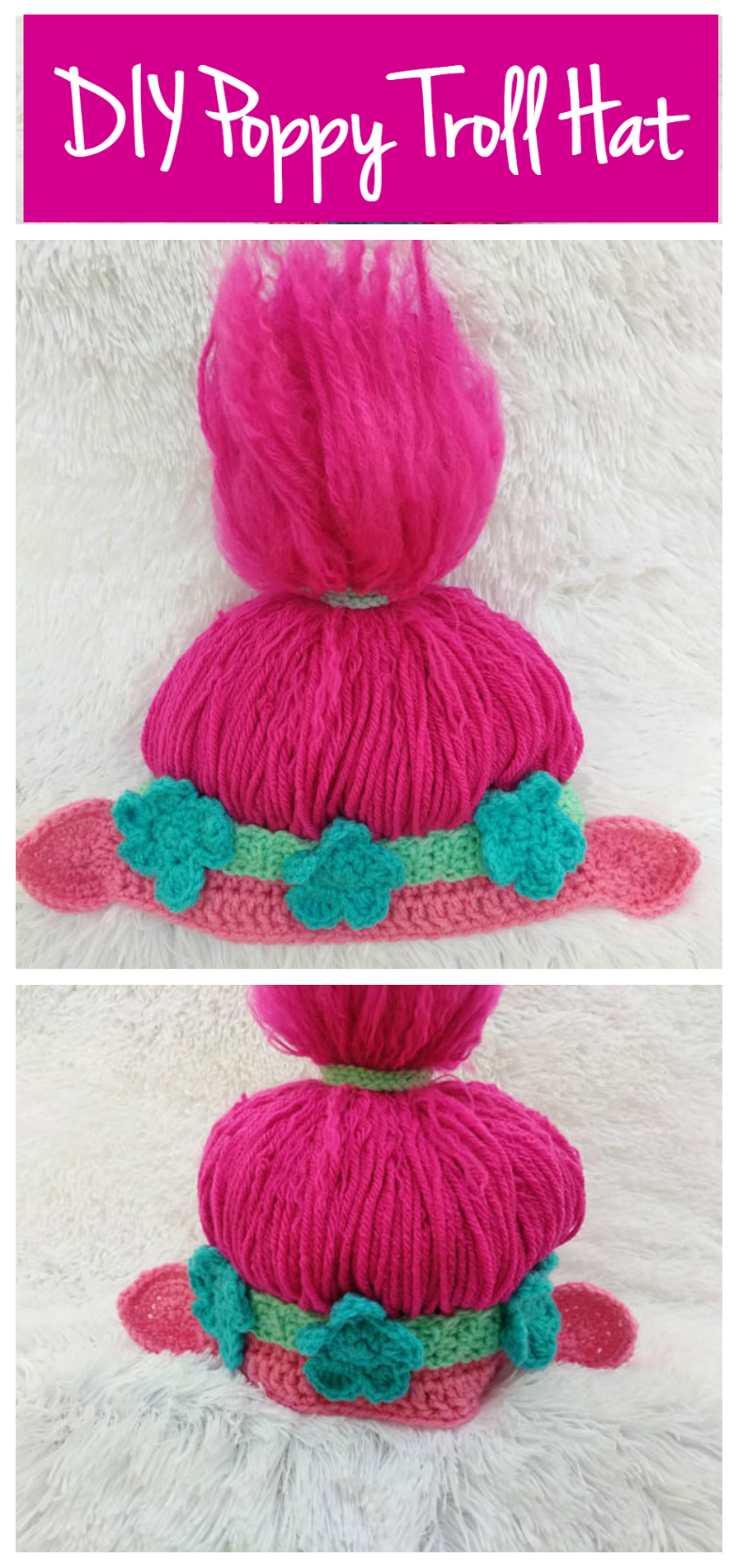 DIY Poppy Troll Hat Crochet Pattern. PDF Instant Download #DIY #crochet # Trolls