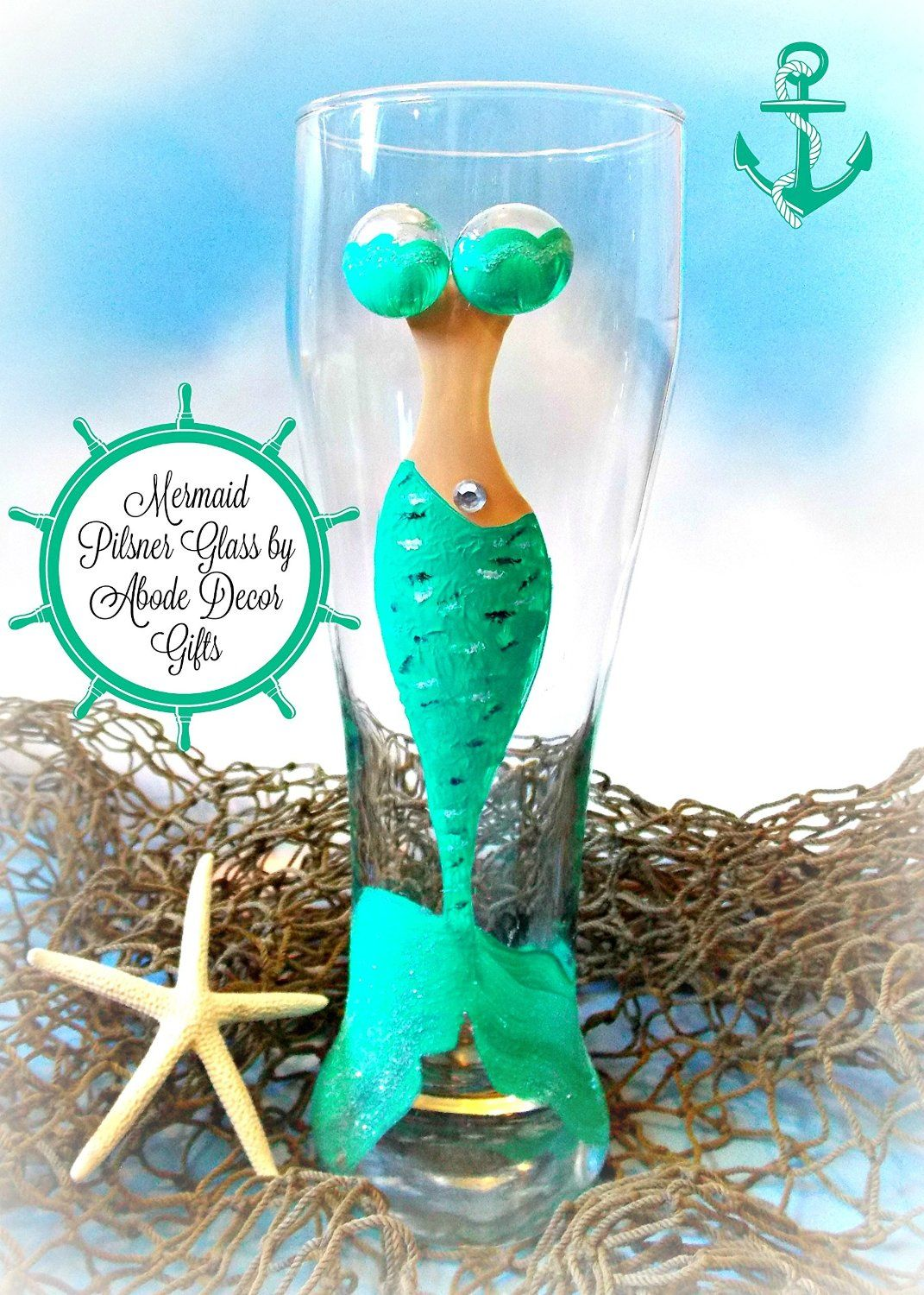 Amazon.com: Mermaid Glass Pilsner Hand Painted Mermaid Collection ...