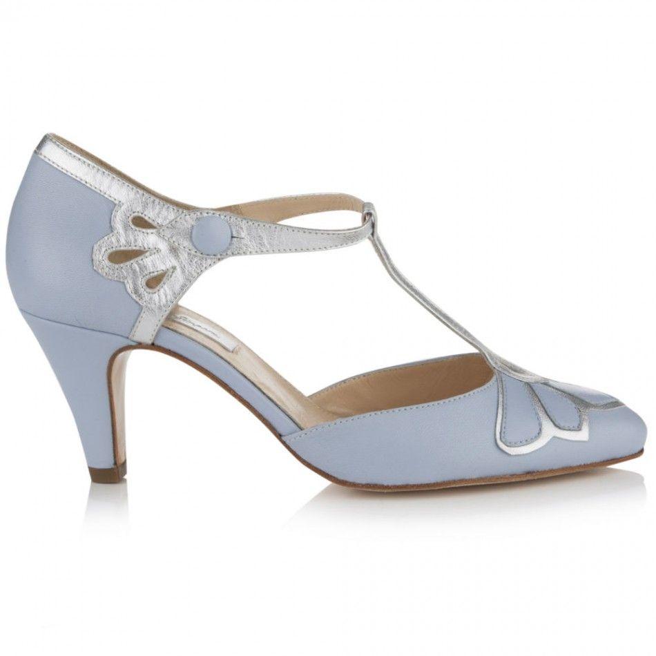 T-Bar Wedding Shoe | Gardenia Powder Blue | Rachel Simpson Shoes ...