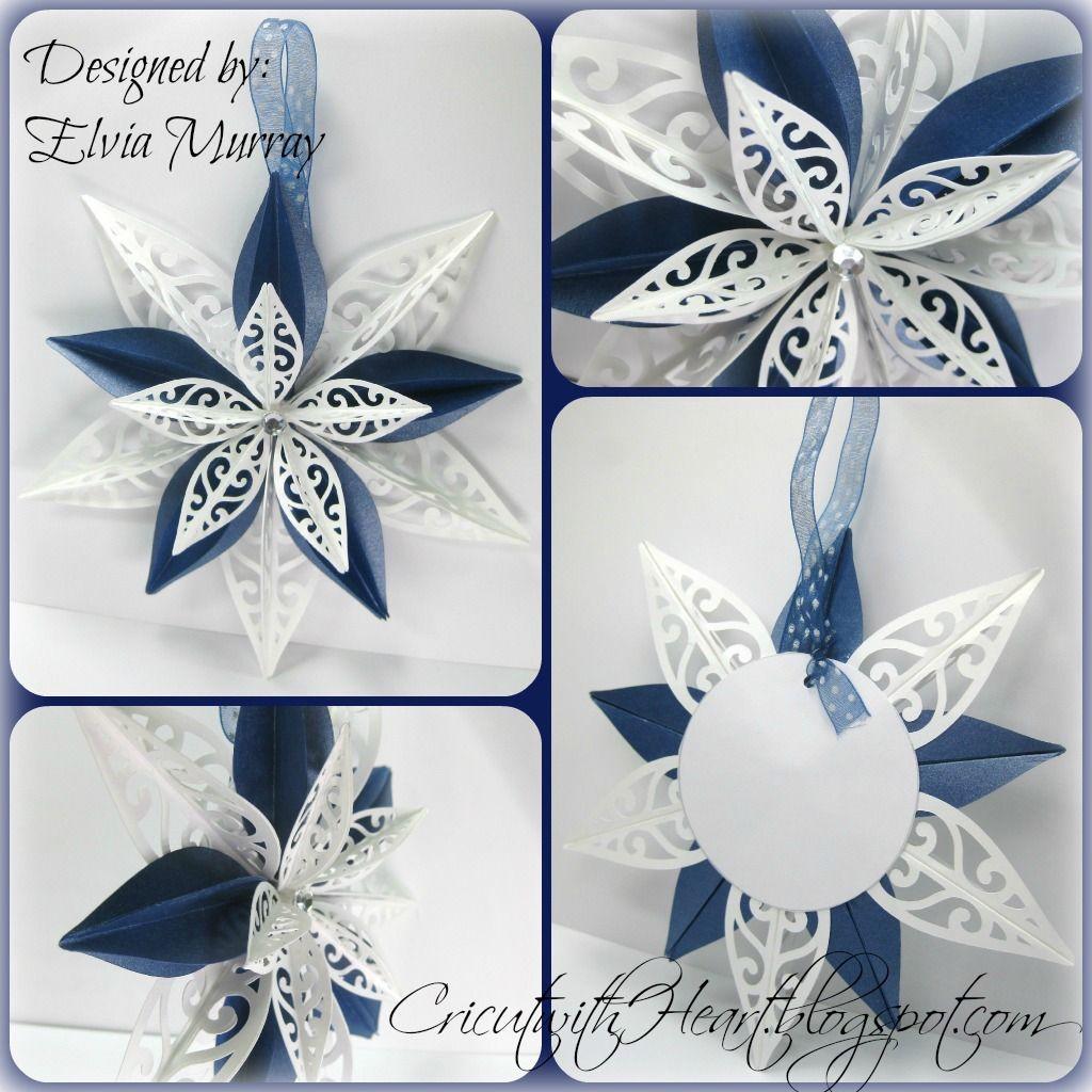 Cricut With Heart Artiste Ornament Star Paper Christmas Ornaments Paper Ornaments Diy Christmas Ornaments Homemade