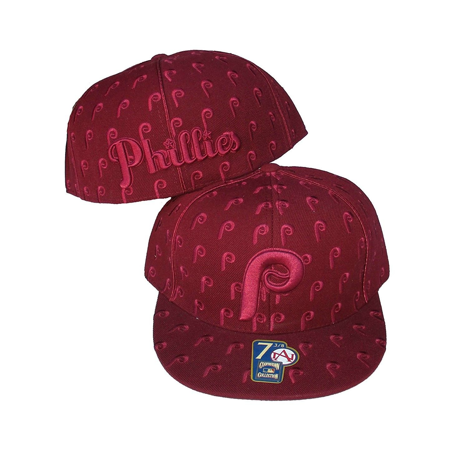Philadelphia Phillies DICE Fitted Size 8 Cooperstown Collection Hat Cap  Burgandy - CW183N9CUG4-Hats   Caps 1a29a8742bc1