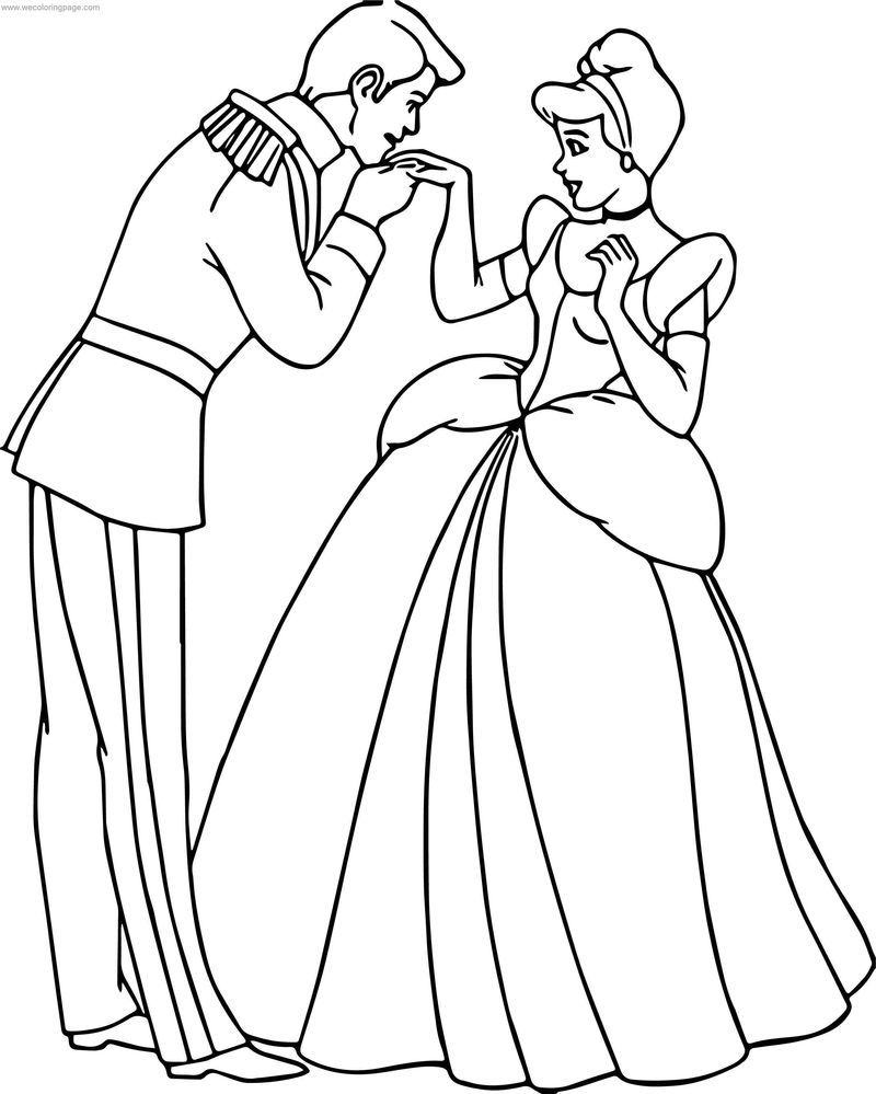 Cinderella And Prince Charming Kiss Hand Coloring Pages Animasi