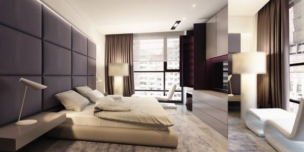 In the master bedroom we can see the influence of contrast the upholstered wall behind the bed acts as an oversized headboard with a call to some
