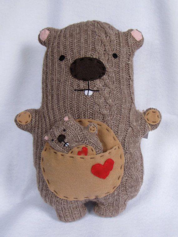 Mama Happy Groundhog Plush Critter stuffed by TheHappyGroundhog