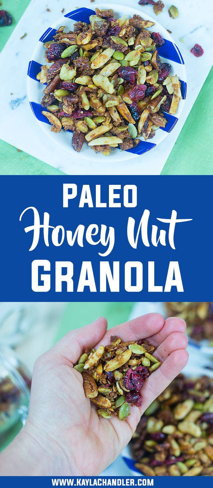 Paleo Honey Nut Granola with a low carb option for those on a keto diet.  This stuff is addictive!