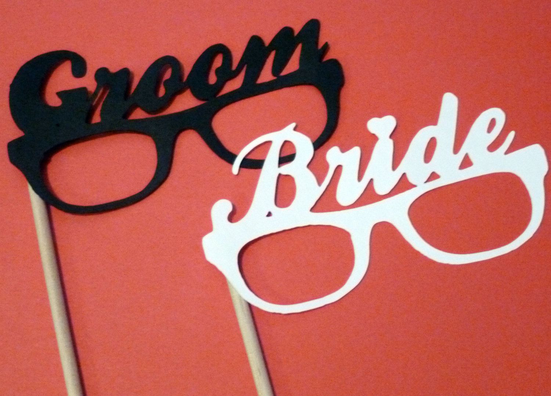 Bride Groom Glasses Photo Booth Props Bride Groom 12 Inch Wooden
