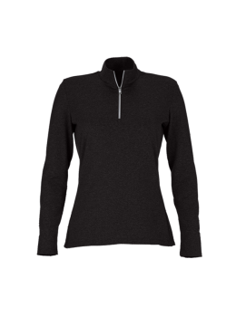 Greg Norman Ladies Basic 1 2 Zip Mock Neck Golf Pullover Long Sleeve Polo Black Heather Golf Outfit Golf Outfits Women Womens Fashion Jackets
