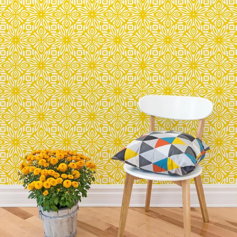 Branch Birds Wallpaper Yellow Birds Birds Branch Peel And Etsy Self Adhesive Wallpaper Removable Wallpaper Chevron Wallpaper
