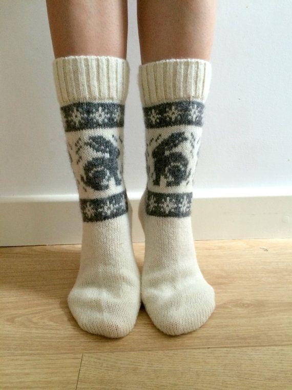 White Wool Socks Grey Rabbit Bunny Hare by FirTreeKnitwear on Etsy ...