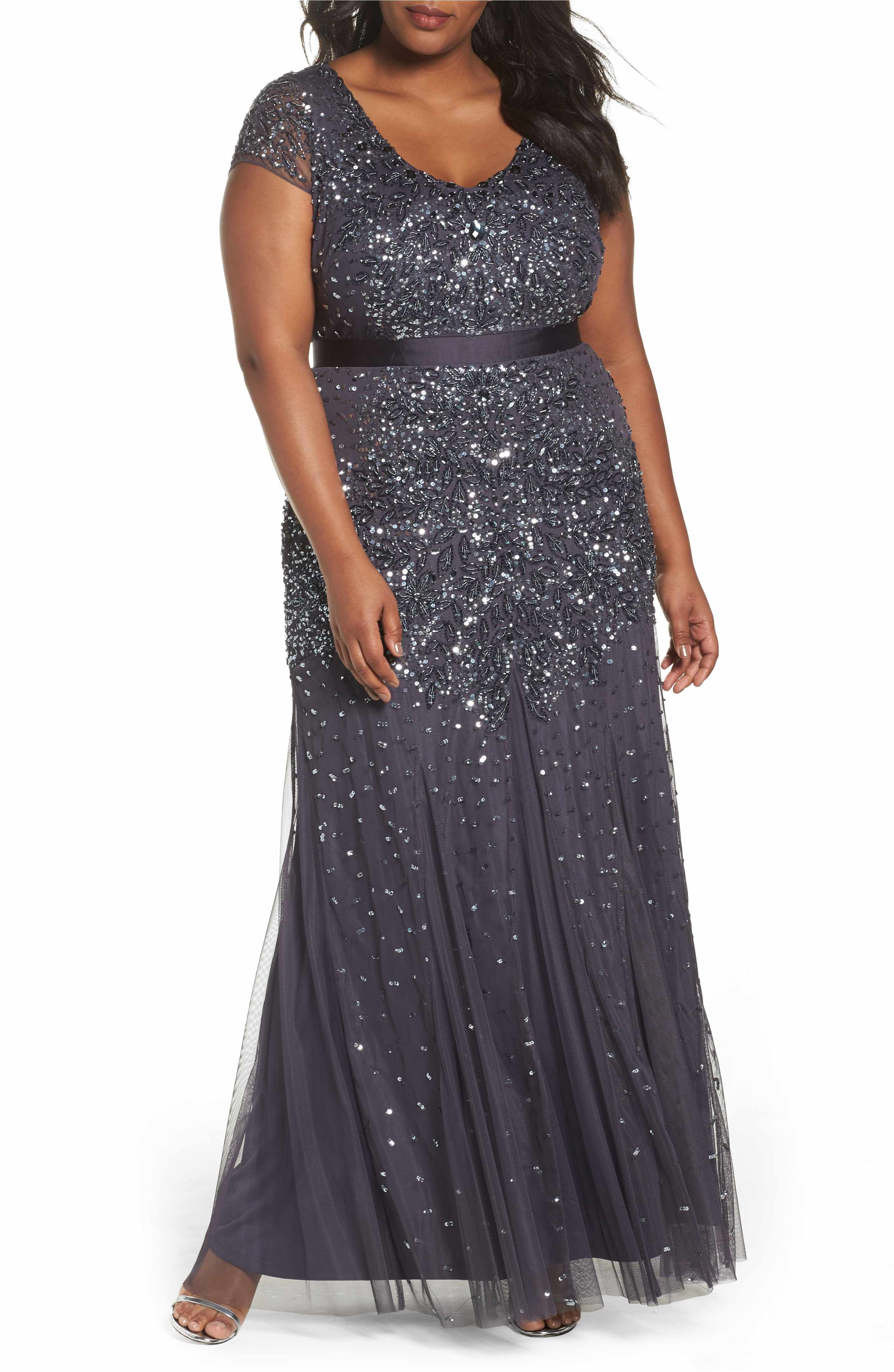 Adrianna papell beaded vneck gown plus size nordstrom