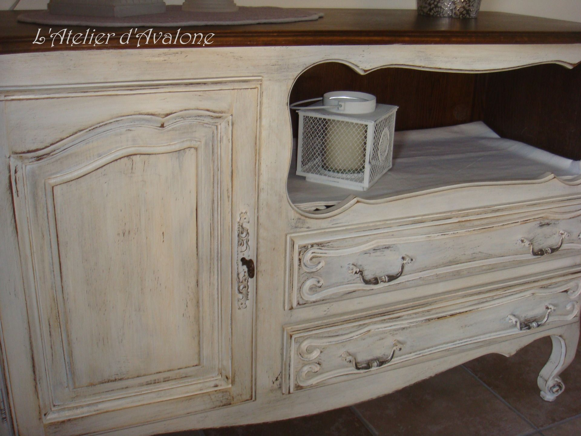 Meuble De Charme Enti Rement Relook Style Shabby Chic Patin  # Meuble Tv Blanc Ceruse