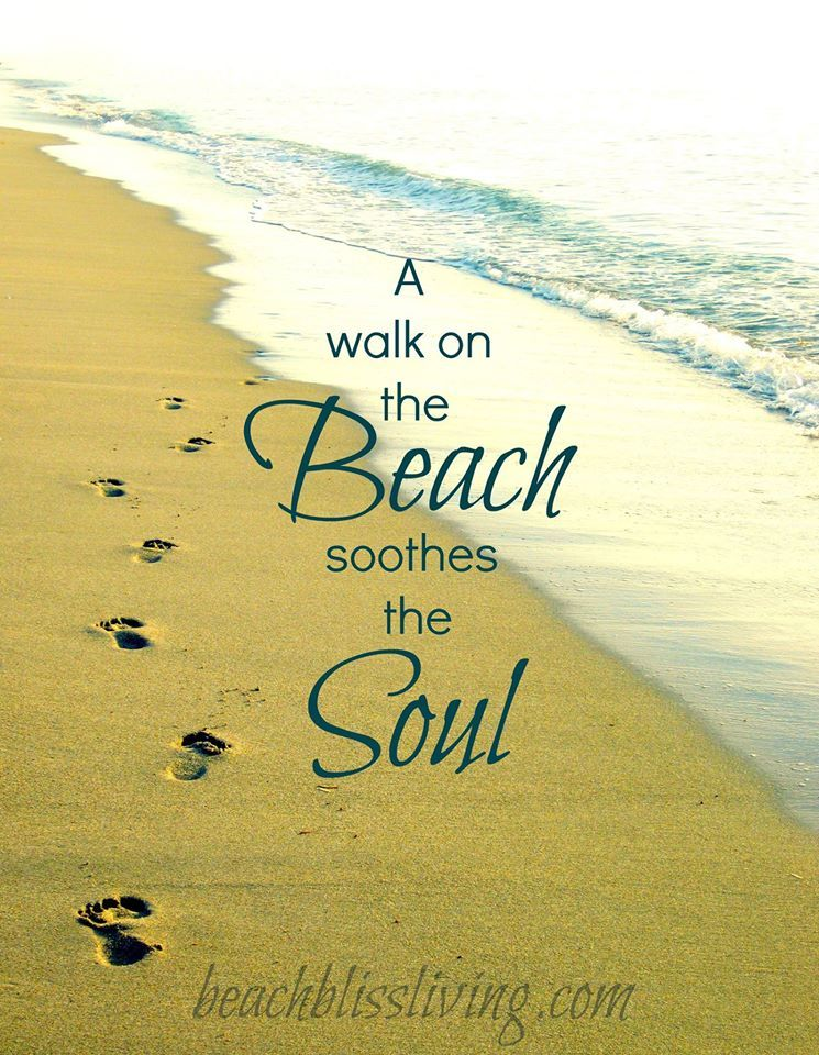 A Walk On The Beach Soothes The Soul Footprints In Sand Print With