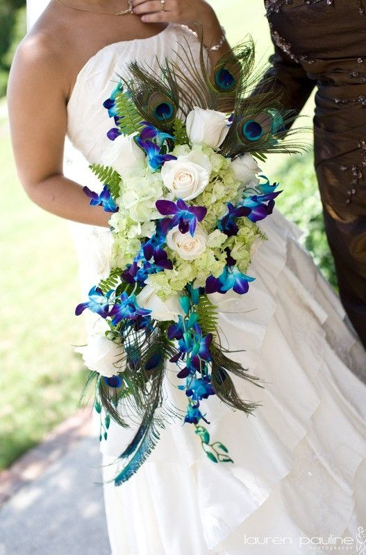 peacock feather bouquet-very unique-great colors for table decor/centerpiece-love the shape