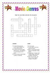 english worksheet movie genre crosswords film resources