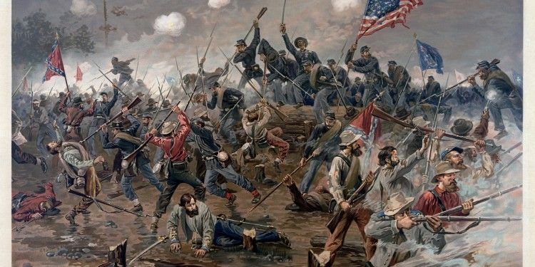 Painting of the Battle of Spottsylvania by Thure de Thulstrup, 1864 ©  Adam Cuerden   Library of Congress
