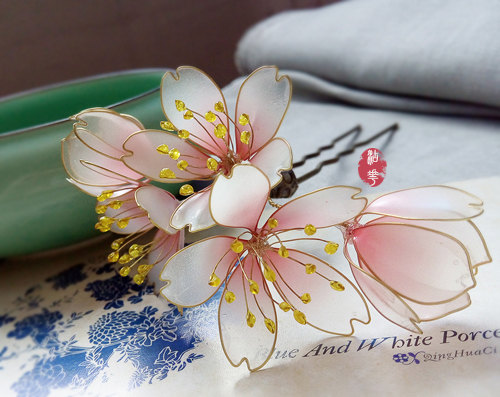 The Cherry Blossom Bud Hair Stick Hair Comb Bridal Headpieces Wedding Kanzashi Hair Clip Red White Hair Fork Hair Slide Asian Tradition Flower Hair Accessories Parts Of A Flower Red Pink Hair