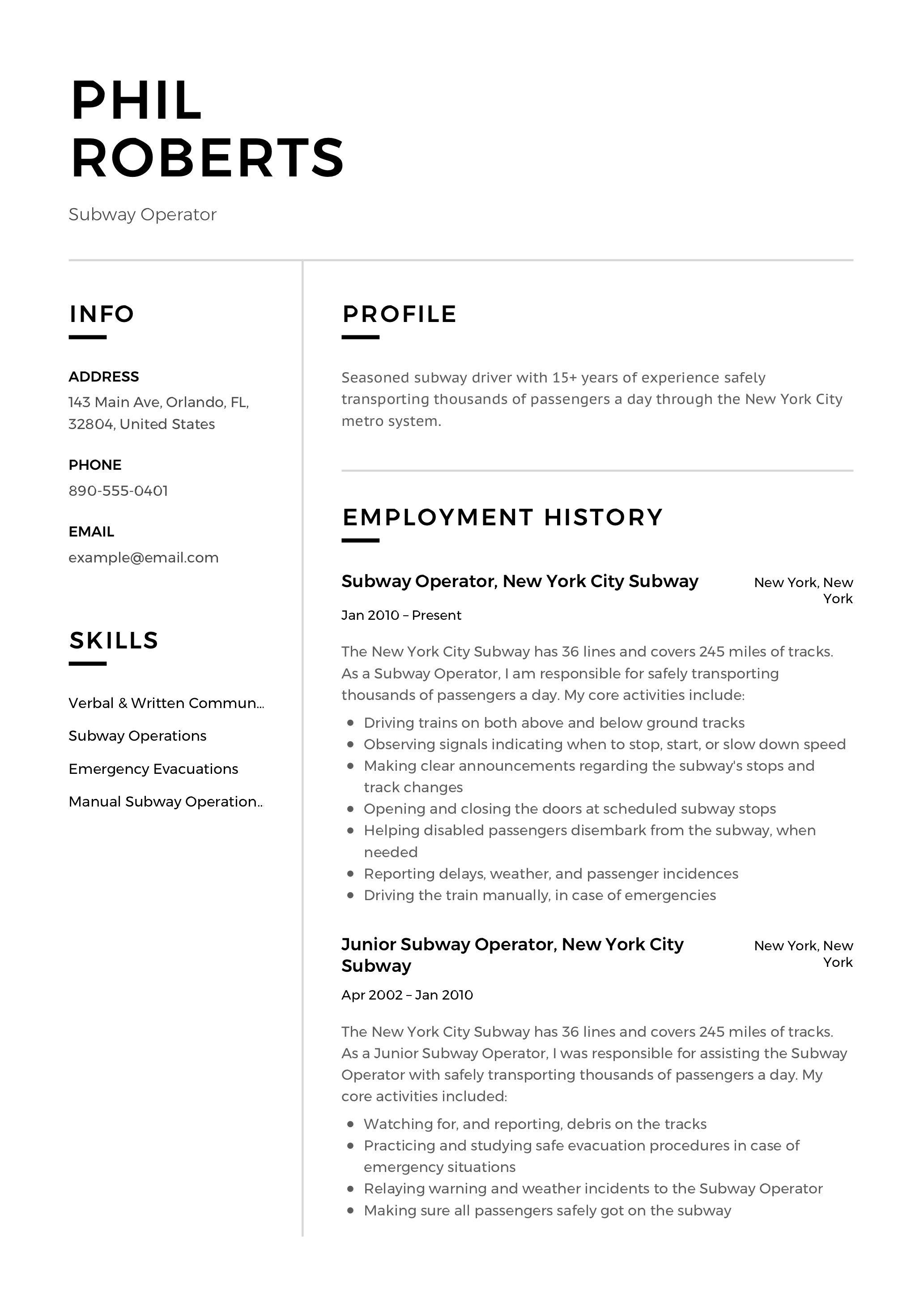 Subway Operator Resume Template Resume Examples Professional Resume Examples Basic Resume