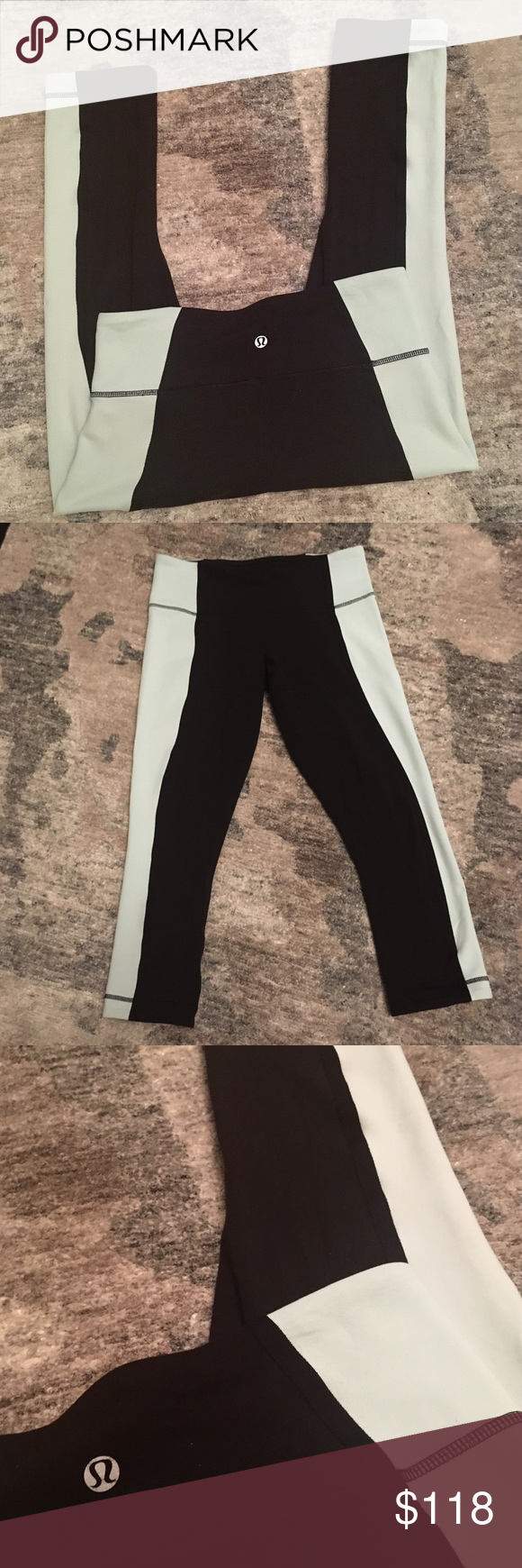 Lululemon Black & Pale Blue Cropped Run Leggings 🎁Offers welcome                                           🔑Bundle to save                                             👍Like for price drop notifications               EUC Lululemon Black and Pale Blue Cropped Leggings. These beauts are made of lululemon's stretch fabric, perfect for breaking a sweat or just lounging around! They measure approx. 27.5 inches in length & 14 inches across (while laid flat). These pants have no size tag but the…