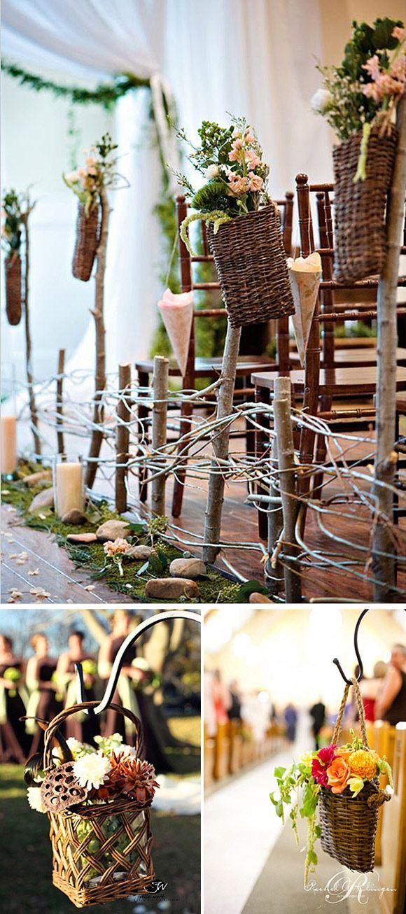 decoracin de pasillos en bodas con cestas de mimbre