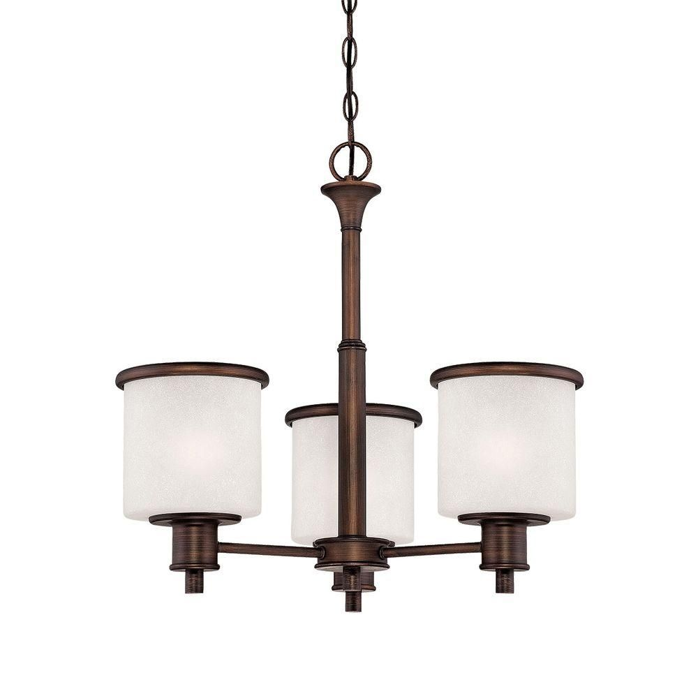 Millennium Lighting 3-Light Rubbed Bronze Chandelier with India Scavo Glass