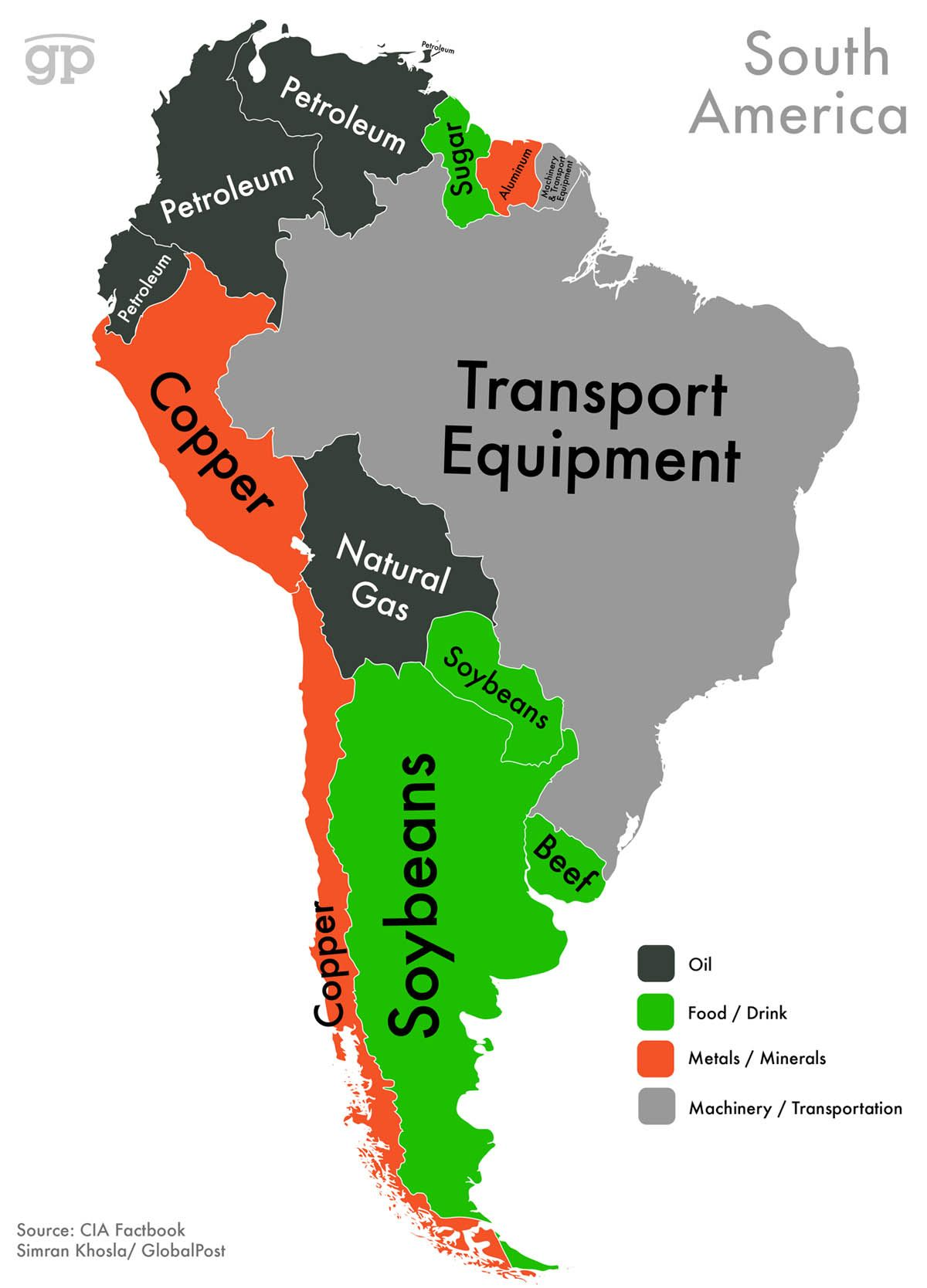 World Commodities Map South America